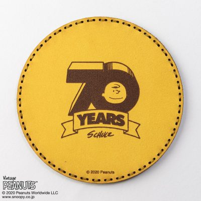 Fire-King レザーコースター Peanuts [70 YEARS] イエロー by OJAGA DESIGN
